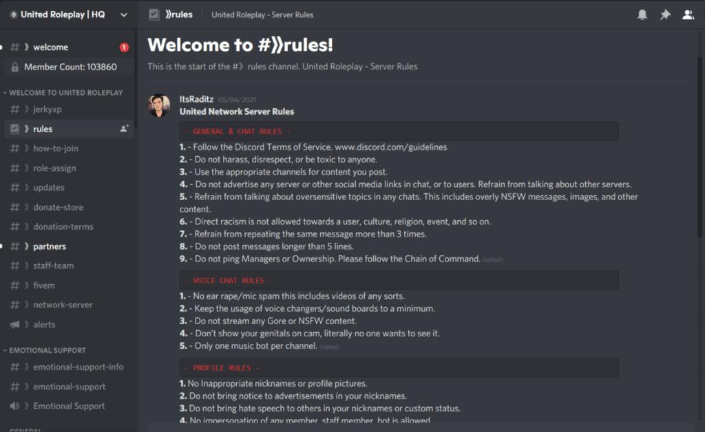 United Roleplay discord screenshot