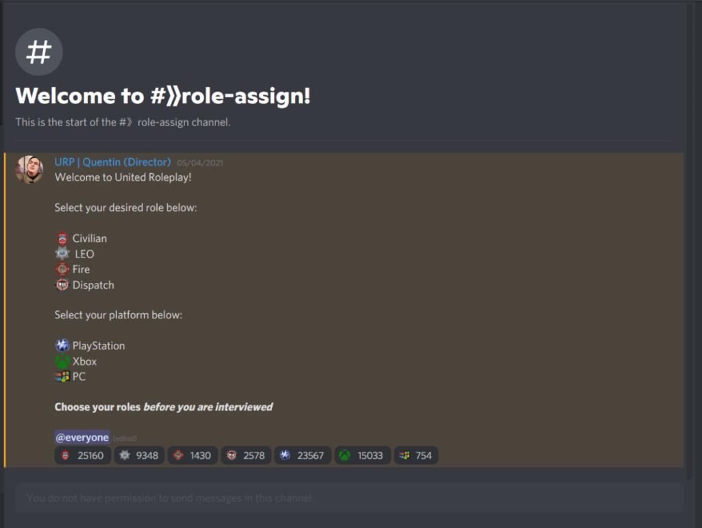 Role assign example screenshot