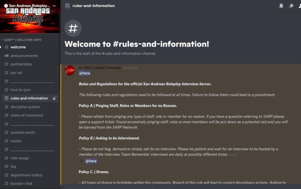 San Andreas Roleplay Server Discord screenshot