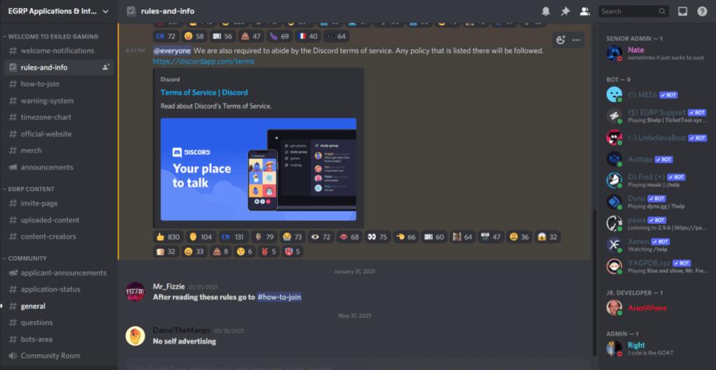 Exile Roleplay Server discord screenshot